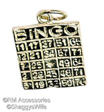 Lucky Bingo Card Charm / Pendant EP Gold Plated with a Lifetime Guarantee