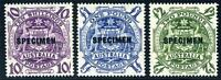 AUSTRALIA SC# 219-221 SG# 224b-d SPECIMEN OVERPRINTED MINT NEVER HINGED AS SHOWN