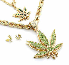 Mens 14k Gold Plated Green Marijuana Pendants & Earrings Bundle W/ 2 Rope Chains