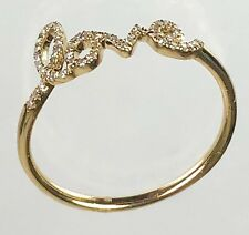 """Script """"LOVE"""" Ring with Diamond in 14k Rose,Yellow or White Gold ( Dia 0.10cts.)"""