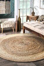 12x12Jute Area Rag Rug Natural Braided Round Hardwood Floors Woven Fabric Rug