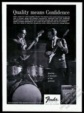 1963 Fender Stratocaster Strat guitar and bass photo vintage print ad