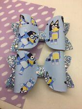 Hair Bow Clip Little Girls Bluey Blue Glitter Bow