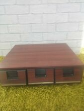 Vintage Music Cassette Storage Box 45 Tape Holder Retro Veneer Wood Rack 70s 80s