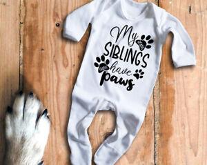 Custom my Siblings have paws white long sleeve rompersuit sleepsuit, baby grow