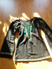 Dawanda Walk Pullover schwarz Ethno Folklore Vintage Elfe Hippie Lagenlook M 38