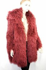 $3,445 VERSACE VERSUS 38 Long Goat Hair Lamb Fur Coat Winter Jecket Women ITALY