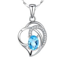 "Solid Sterling Silver Topaz Stone Heart Pendant Necklace 18"" Chain Christmas A1"