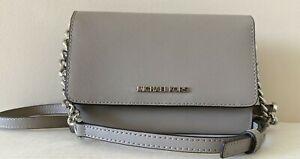 New Michael Kors Jet Set Travel Medium Phone Crossbody Leather Pearl Grey