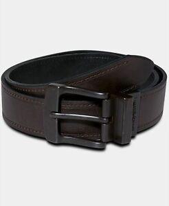 $120 Levi's Men's Brown Black Faux Leather Reversible Wide Buckle Belt Size 42
