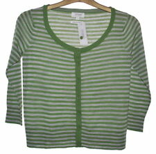 Button Wool 3/4 Sleeve Striped Jumpers & Cardigans for Women