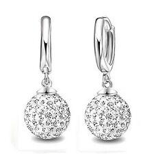 Austrian CZ Crystal Pave Disco Ball Hoop Leverback Huggie Earrings Woman Jewelry
