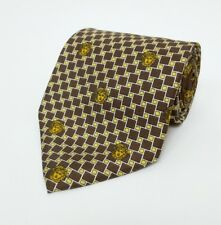 Gianni Versace Silk Tie Medusa Brown Gold Check Dot Art Deco Italy RRP £160