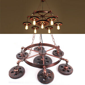 Farmhouse Gears Chandelier Lighting Industrial Pendant Hanging Ceiling Light