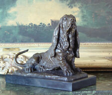 Hush Puppy Basset Hound Scent Dog Breeder Bronze Marble Statue Sculpture Tribute