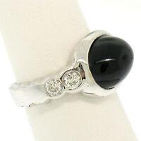 18K White Gold Oval Bezel Set Black Onyx & Burnish Set Round Diamond Bubble Ring