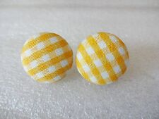 """New Handmade yellow and white checked  stud Button Earrings, 1"""""""
