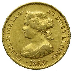 Isabel 2ª   40 Reales   1863   Barcelona