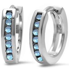 Round Aquamarine Hoop .925 Sterling Silver Earrings