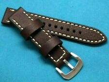20mm Brown HQ Leather Contrast Stitch Men's Watch Strap Silver tone Buckle