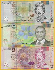 BahamasSet of 3 banknotes: 1/2 (half), 1, 3 Dollars 2017-2019 UNC