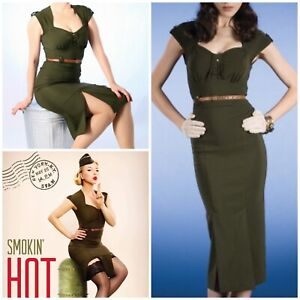 STOP STARING 'MAJORETTE' Retro 40s Vintage Inspired Green Fitted Sexy Wiggle XS