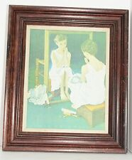 "Girl in Mirror Norman Rockwell Reproduction Canvas Vintage Frame 12""x15"" Picture"