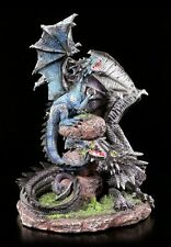 Drachen Figur - Quen und Ty auf Steinen - Drachen Brüder Deko Statue Fantasy