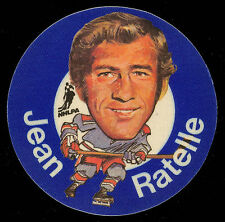 19731973-74 MAC'S MILK NHL JEAN RATELLE N Y RANGERS NM CLOTH STICKER HOCKEY DISC
