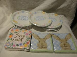Lot of 164 Special Occasion Happy Easter Bunny Plates/Napkins & Roobee Napkins