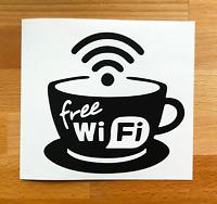 Cafe Bar Shop Wifi Free Wifi Cup Coffee Shop Sticker Window Vinyl Sign Sticker