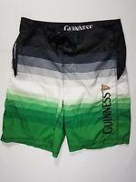 Guinness Beer Large L Black White Green Mens Board Shorts Swim Trunks