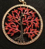 """Betsey Johnson Red Tree of Life Necklace New With Tag ~Free Shipping~ 26"""" Chain"""