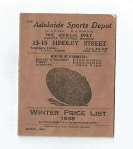 Adelaide Sports Depot Price List 1936 20pp football croquet golf