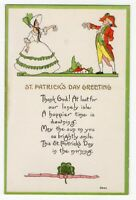 12720 VINTAGE ST PATRICK'S DAY POSTCARD GREETINGS IN THE MORNING