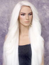 Extra Long Hair Lace Front Wig Full Piece Heat OK Feathered Side WBPC White