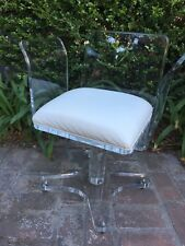 LUCITE VINTAGE 1970's BOUDOIR CHAIR WITH SWIVEL BASE AND WHITE LEATHER SEAT