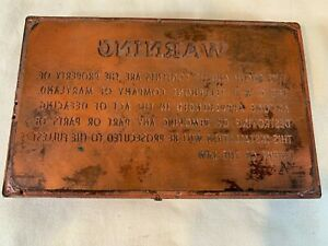antique Vintage PRINTING PLATE LABELS copper on Wood C&P Telephone Co. A791