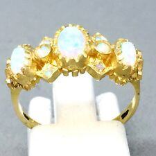 "VINTAGE STYLE 9CT YELLOW GOLD OPAL ""HALF ETERNITY"" DRESS RING SIZE ""O"" 903"