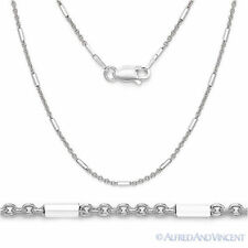 .925 Italy Sterling Silver Rhodium-Plated 1.3mm Bead & Cable Link Chain Necklace