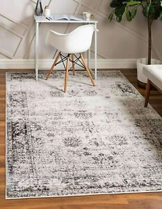 Unique Loom Sofia Collection Traditional Vintage Area Rug, 6' x 9', Gray/Ivory