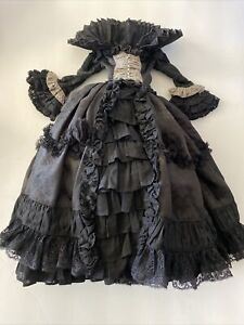 Dollheart Gothic Romantic Victorian Black Dress For SD13 BJD, Ball Jointed Dolls