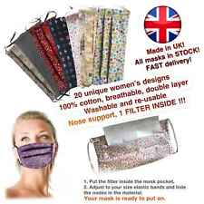 Face mask for ladies, washable, re-usable, filter, 100% cotton. HANDMADE in UK