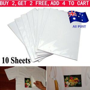 10PCS A4 Heat Transfer Iron-On Paper For Light & Dark Fabric Cloth T-shirt DIY/