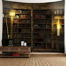Retro Bookshelf Tapestry Printed Wall Hanging Home Decorative Bedroom Tapestry