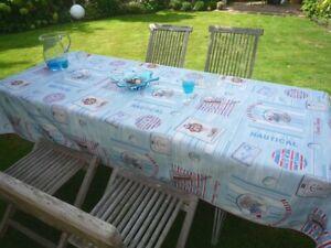 Tischdecke Provence 150x300 cm hellblau Katzen und Hunde Frankreich bügelfrei