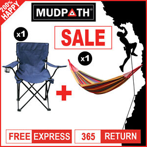 OzEagle Quad Folding Chair + Double Cotton Fabric Hammock Outdoor Camping