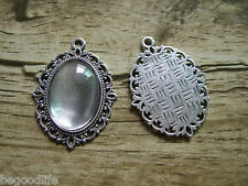 25 Sets Antique Silver Oval Cameo Setting Pendant Trays W 18x25mm Glass Cabochon