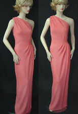 $1790 NWT ST JOHN SHIMMERY SHARP CRINKL KNIT GOWN sz 10  PINK GRAPEFRUIT, LINED