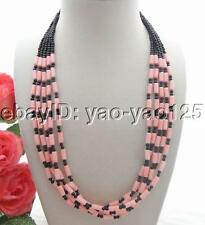 5 Strands Pink Coral Tube Onyx Necklace